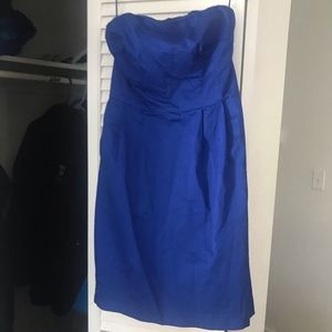 Blue strapless mini dress